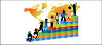Kinder-Silhouette und der Welt-Karte Vektor Material