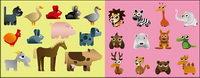 Variedad de dibujos de animales los vectores de material