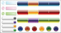 Botones decorativos de cristal material de la p¨¢gina icono de vectores