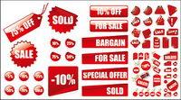 Vector rojo precio de venta de materiales de decoraci¨®n