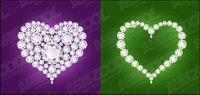 Diamanten in Herzform Vektor Material