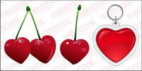 Cerises et le coeur en forme de cl�� vecteur mat��riel