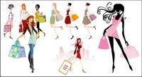 Fashion shopping filles vecteur mat��riel