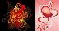 Coeur en forme de symboles masculin et f��minin mode vectoriel