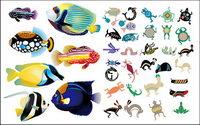 Animal poisson r��aliste et abstraite vecteur mat��riel