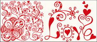 Abstract heart-shaped pattern vector material