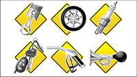 Auto Parts Series icon vector material