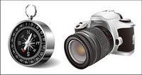 Digitale SLR und der Kompass Vektor Material