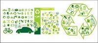 Vari��t�� de th��mes environnementaux icône vecteur mat��riel