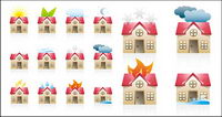 A variety of state of the house icon vector material