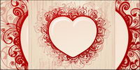Retro style en forme de coeur mode vecteur mat��riel