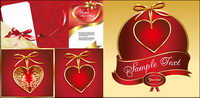 Ribbon and heart-shaped series of vector material