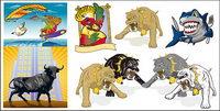 Das Bild von mehreren Cartoon Tiere Vektor Material