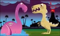 Cute dinosaurio vector material