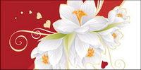 Weiße Blumen und Herzform Vektor Material Elemente