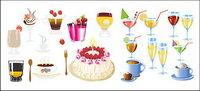 Boissons et gâteaux Vector mat��riel