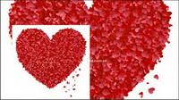 Heart Bl��tenblätter durch das Streben nach großen Pfirsich Herzen Vektor Material gebildet