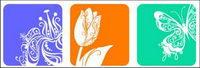 9 material de diseño de flores pequeñas siluetas vector