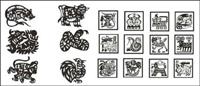 Zodiac vector de material de papel de corte (4)