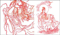 Bodhisattva Guanyin Strichzeichnung Vektor-Material
