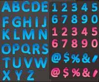 Color dreidimensionale Buchstaben und Zahlen Vektor Material