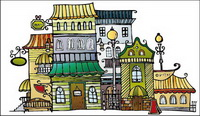 Cartoon town house vector material