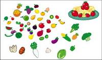 Bonito frutas y hortalizas material vector