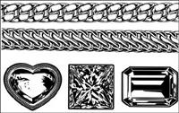 R��aliste or et chaîne en argent - bijou diamant Vector