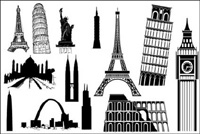 Famous foreign buildings vector material
