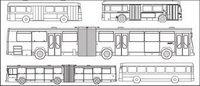 Types de lignes de dessin vectoriel voiture bus mat��riel