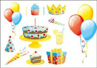 Le gâteau de cadeau ballon rubans vecteur de mat��riel