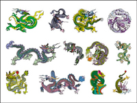 Chinese Classical Dragon Vector material of 8