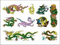 Dragon chinois classique Sept de vecteur mat��riel