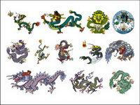 mat��riel classique chinois Dragon Six vecteur