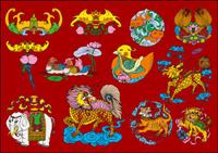 12 mod��les populaires chinois augure Vector