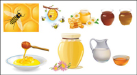 Honigbienen sammeln Vektor Material