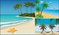 5 paysages de plage Vector