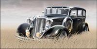 Mat��riel Grass dans le vecteur vieille voiture
