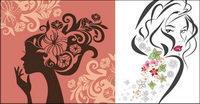 Les femmes Vector Flower dans le profil