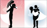 Vector People silhouette wedding
