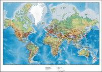 Mapa del mundo con terreno montañoso Vector planes