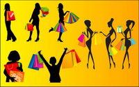 Vector silhouettes de femmes shopping
