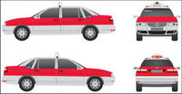 Tres Vistas de Shanghai Santana pintura taxi Zhijun? Brida Red Edition