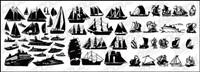 Una variedad de barcos de vela Vector silueta