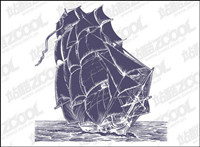 Pen drawing style sailing vector material
