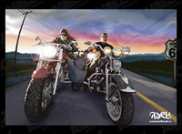 drawing realistic Harley-Davidson family of vector material