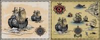 Buques de guerra de la antigua vela - Vector