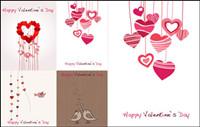 Lovely romantischen Valentinstag Grußkarten Vektor Material