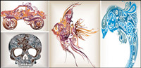 Trend-Muster Delphine in die tropischen Fische-Off-Road-Fahrzeuge-Scorpions-Skeleton Vector