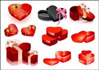 D¨ªa de San Valent¨ªn en forma de coraz¨®n caja de regalo vector de material